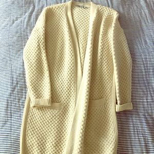 Vince Long Cream Cardigan - Size Small